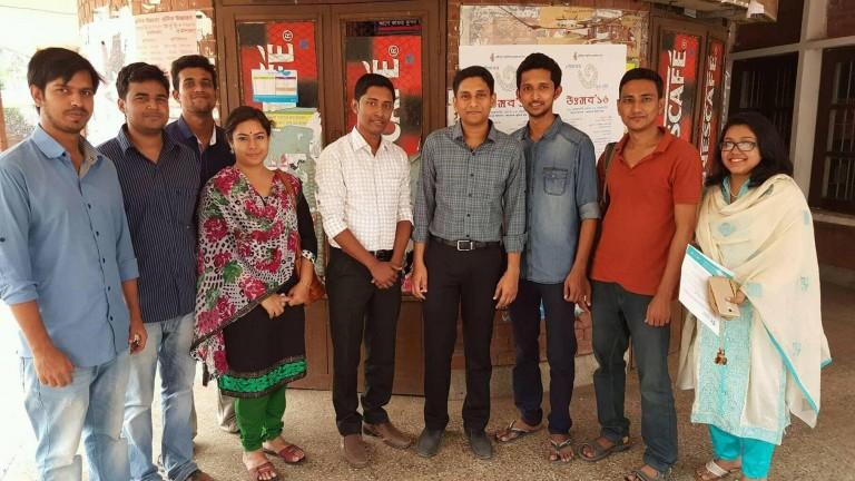 Sayed Mohsin Reza With Mithun C. Paul, Khandoker Rahad, Debashis Dey , Sadia Katha,  Zamshed Iqbal, Hasnat Parvez and Feroz Ahmed in Cafeteria, Jahangirnagar University